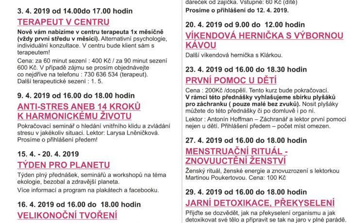Program na měsíc Duben